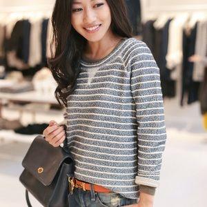 LOU & GREY Crewneck Stripe Sweater Navy White M